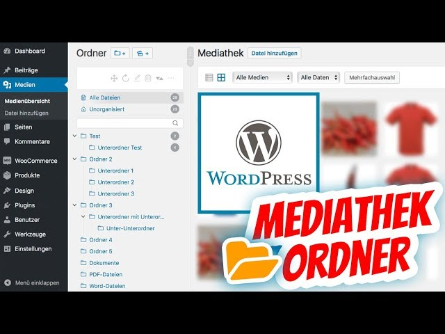 WordPress Mediathek Ordner anlegen und Fotos verwalten