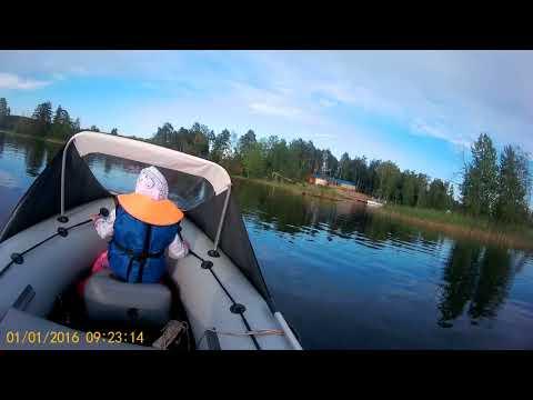 Касатка 385S+Суза 9.9(15) налет на камень  озеро Вуокса 07.2018
