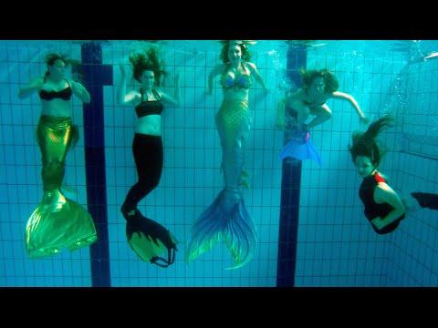 Seven Mermaids Meet Mermaid Tails In Pool Stella The Siren Youtube