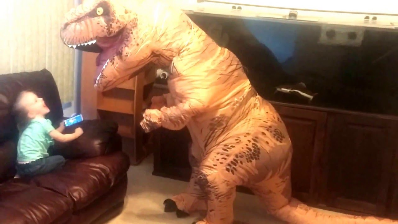 trying out inflatable t rex costume on the kids trinity and madison youtube