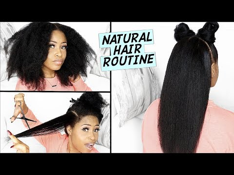 Easy BLOWDRY, STRAIGHTEN & TRIM Routine on NATURAL HAIR! ➟(healthy, bouncy & lustrous) thumbnail