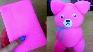 Sponge doll/പാവക്കുട്ടി/teddy bear/easy craft for kids/Malayalam video.