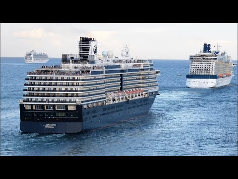 7 Cruise Ships Leaving Port at Fort Lauderdale (4K)