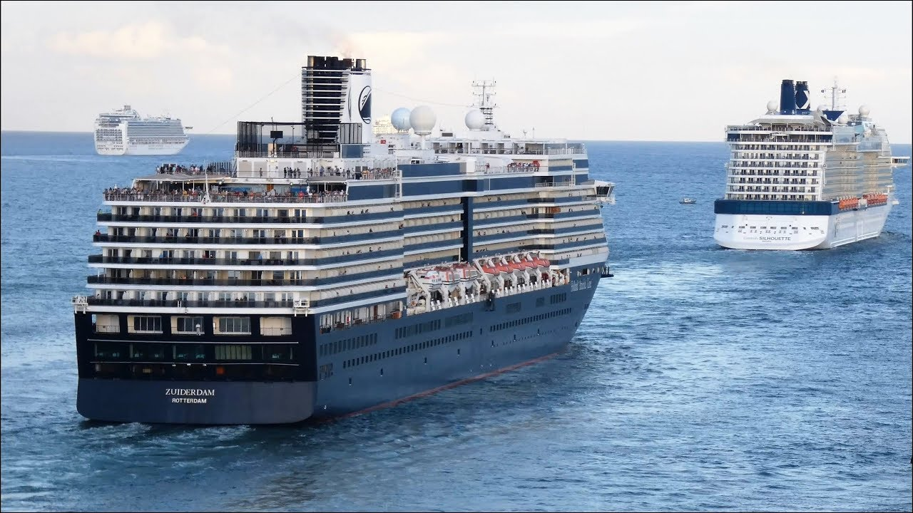 Fort Lauderdale Cruise Port >> 7 Cruise Ships Leaving Port At Fort Lauderdale 4k Youtube