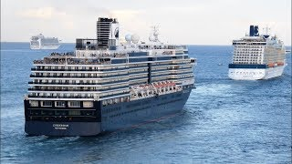 7 Cruise Ships Leaving Port at Fort Lauderdale (4K)