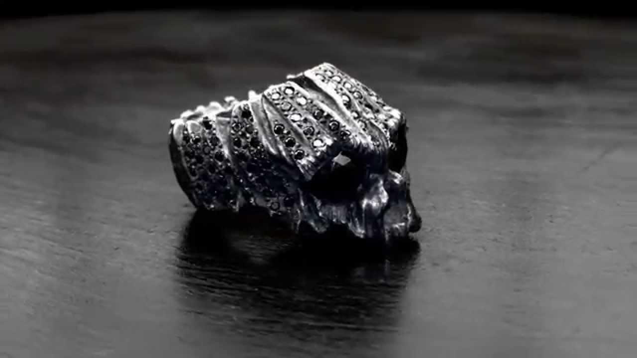 Cabrini Green Heavy Skull Ring Pave Black Diamonds Soffer