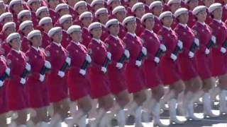 Chinese Beautiful Pink Army March Past 中華人民共和國國慶