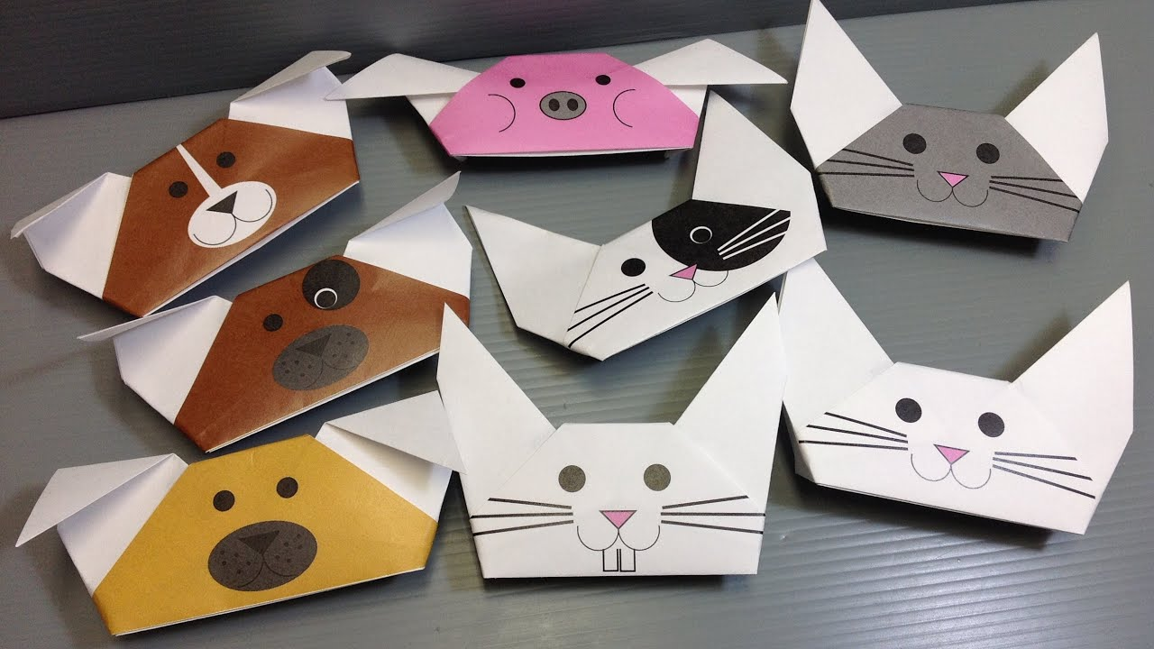 Origami Animal Puppets  Print Your Own Paper  YouTube