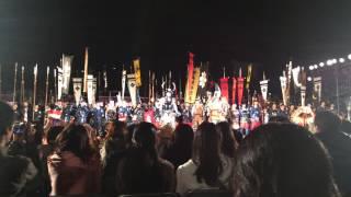 山梨県甲府市で4月4日に行われた信玄公祭りの帰陣式。片岡鶴太郎さん...