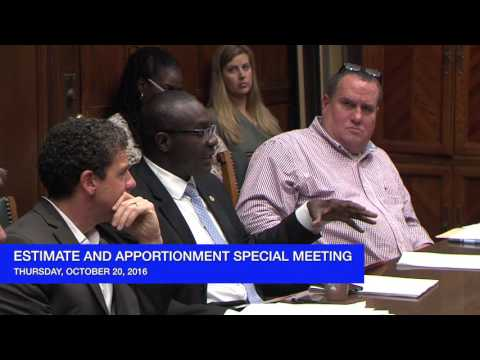 Special Meeting of the Board of Estimate and Apportionment  - October 20, 2016