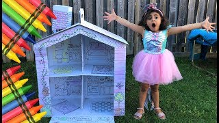 Sally Pretend Play Coloring Kids Playhouse w/ Crayons & Toys