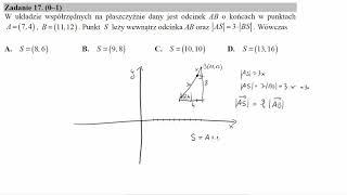 W układzie współrzędnych na płaszczyźnie dany jest odcinek AB o końcach w punktach A=7,4, B=11,12  P