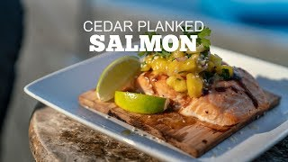 Cedar Planked Bourbon Glazed Salmon With Mango Pineapple Salsa