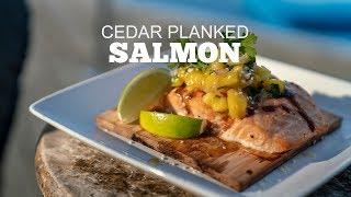 Cedar Planked Bourbon Glazed Salmon With Mango Pineapple Salsa