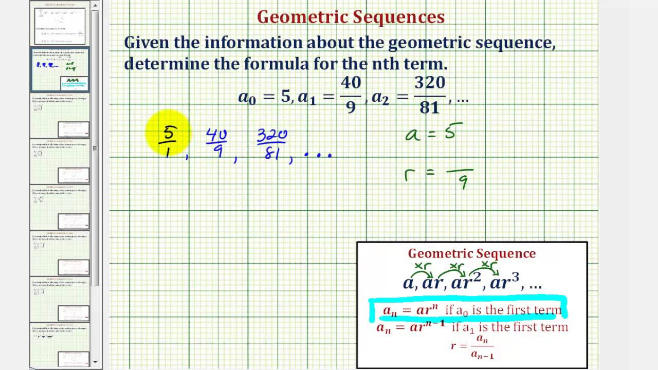 Geometric Sequences - nth Term (solutions, examples, videos