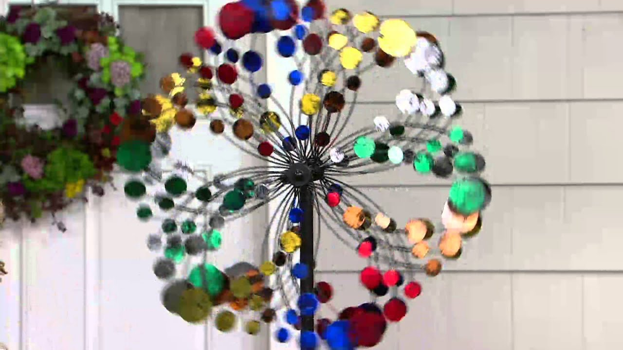 Plow U0026 Hearth Multi Color Confetti Garden Wind Spinner On QVC