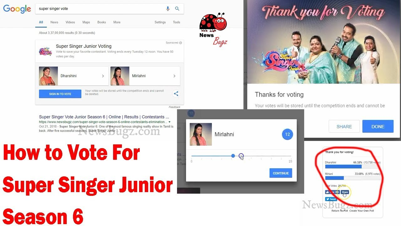 Super Singer Vote: How to Vote for SSJ Season 6 on Google | Vijay TV