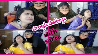 #Strengle challenge with saree....bohot highly requested video...
