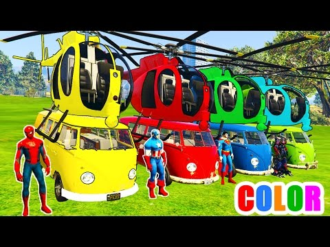 Thumbnail: COLOR Helicopter on BUS and Spiderman Cartoon with Cars Superheroes for kids and babies!