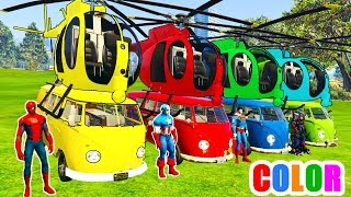 COLOR Helicopter on BUS and Spiderman Cartoon with Cars Superheroes for kids and babies!