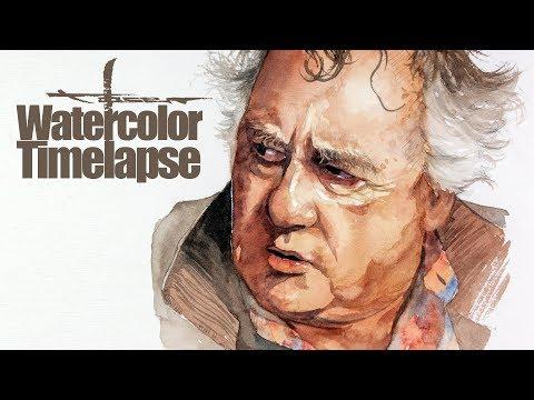 Watercolor [Speed painting - Timelapse]  Portrait - Peter Gerety - Sneaky Pete