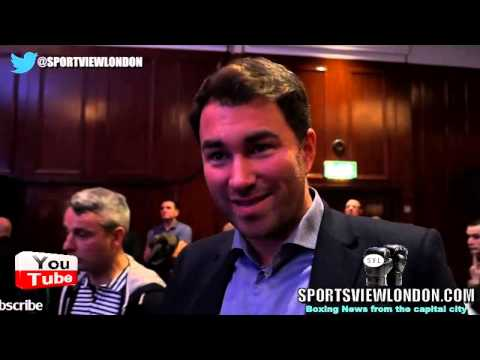 Eddie Hearn reacts to Frampton-Quigg Belfast Press conference