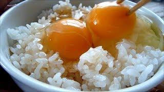 2 raw eggs over rice. Tamago kake gohan. Japanese food.
