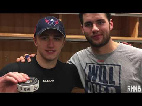 Tom Wilson talks about pieing Jakub Vrana after scoring first NHL Goal