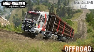Spintires: MudRunner - MAN 6x6 Timber Truck Off-road Driving through Forest and Hilly Roads