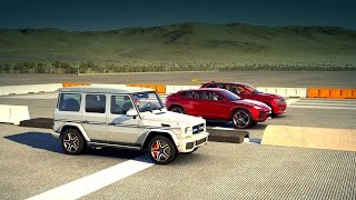 Forza 6: Lamborghini URUS vs Mercedes Benz G 65 AMG vs Jeep Grand Cherokee SRT | SUV Drag Race