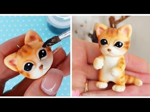 Рыжий Котёнок Лепка из пластилина, полимерной глины, мастики, легкого пластилина \ лепка котов - Видео онлайн