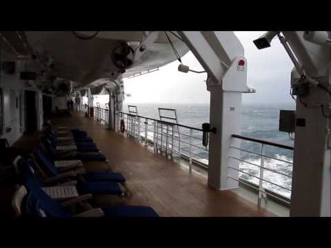 The Atlantic Ocean, seen from the promenade deck on Cunard's Queen Elizabeth