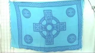 Celtic Cross Madalas With Celtic Knotwork Borders Blue Sarong Wholesalesarong.com