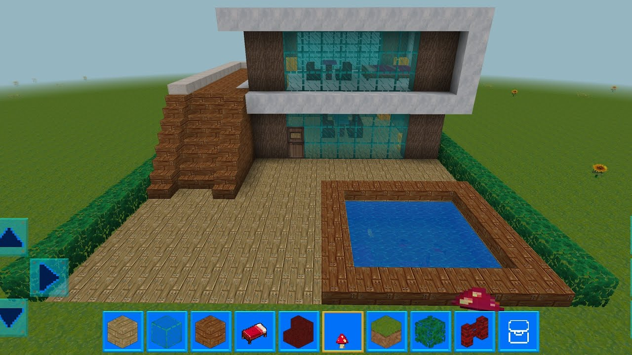 RealmCraft with Skins Export to Minecraft Gameplay #221 (iOS & Android) | Modern Wooden House 🏠