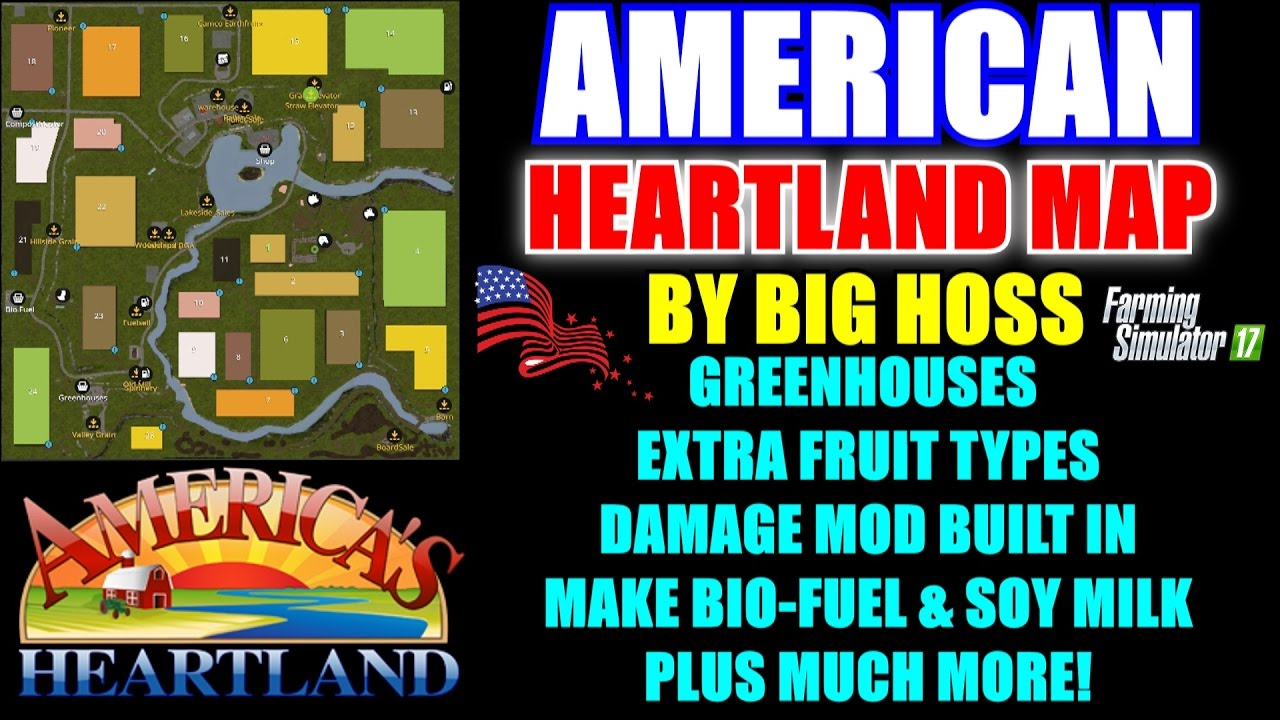 Farming Simulator American Heartland Map Map Mod Review - Us map mod fs 17