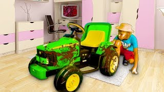Yarik rides on a children's Tractor, Kolya is stuck in a pit, kids are towing cars