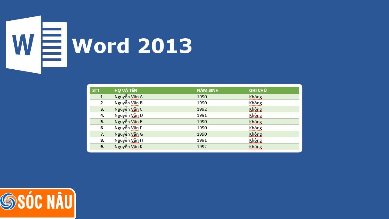 Cách tạo bảng trong Word 2013