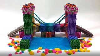 DIY - How To Make Rainbow Bridge With Magnetic Ball, Slime, Car toys