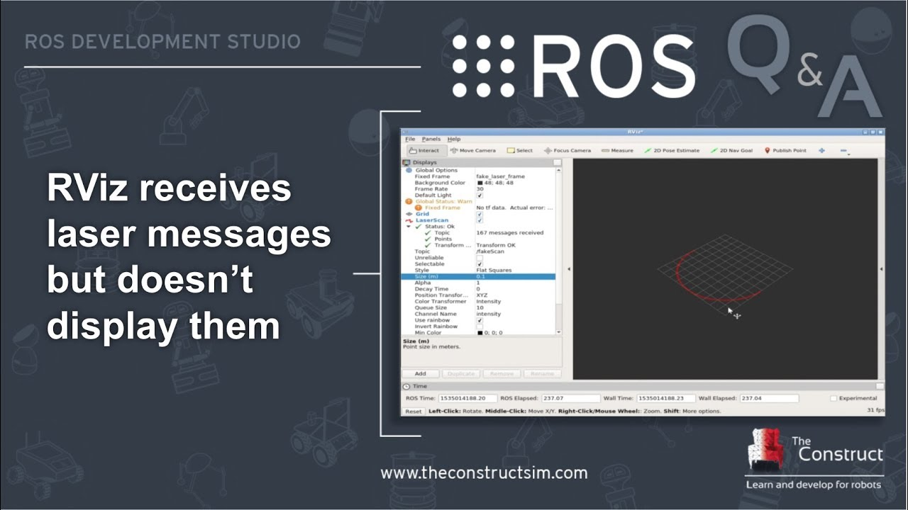 [ROS Q&A] 151 - Rviz receives LaserScan messages but doesn't display them