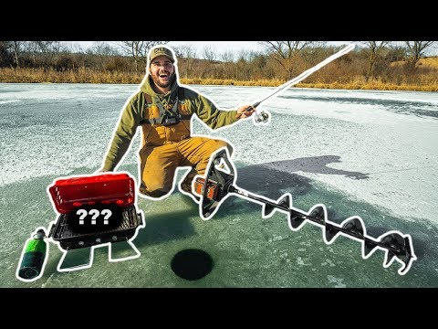 BACKYARD POND Catch Clean Cook While ICE FISHING!!! (Sketchy Ice)