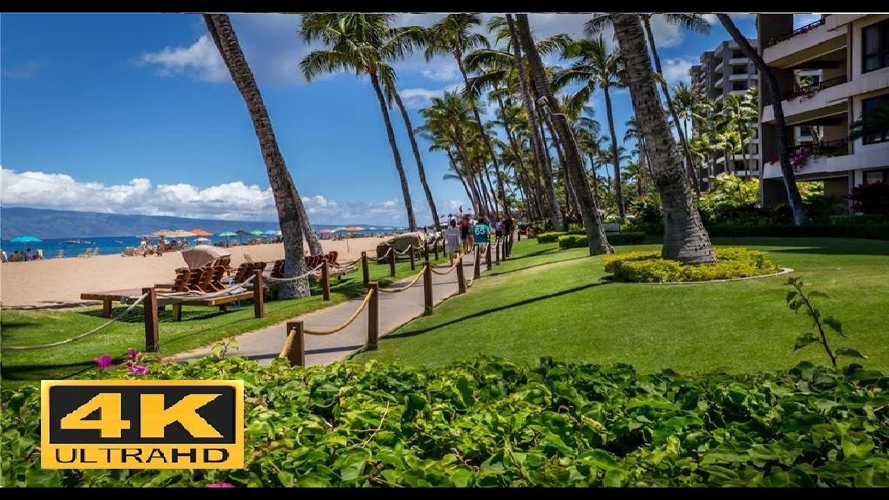 Kaanapali Beach Walk Maui Hawaii 4k