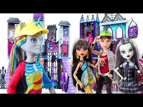 Monster High куклы в видео для девочек: Асу Элла открывает  новую школу – Монстер Хай на русском