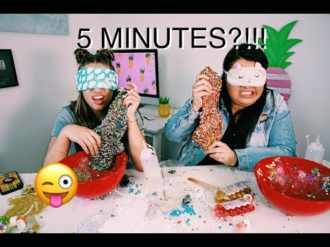 5 minute blindfolded slime challenge with Karina Garcia !!