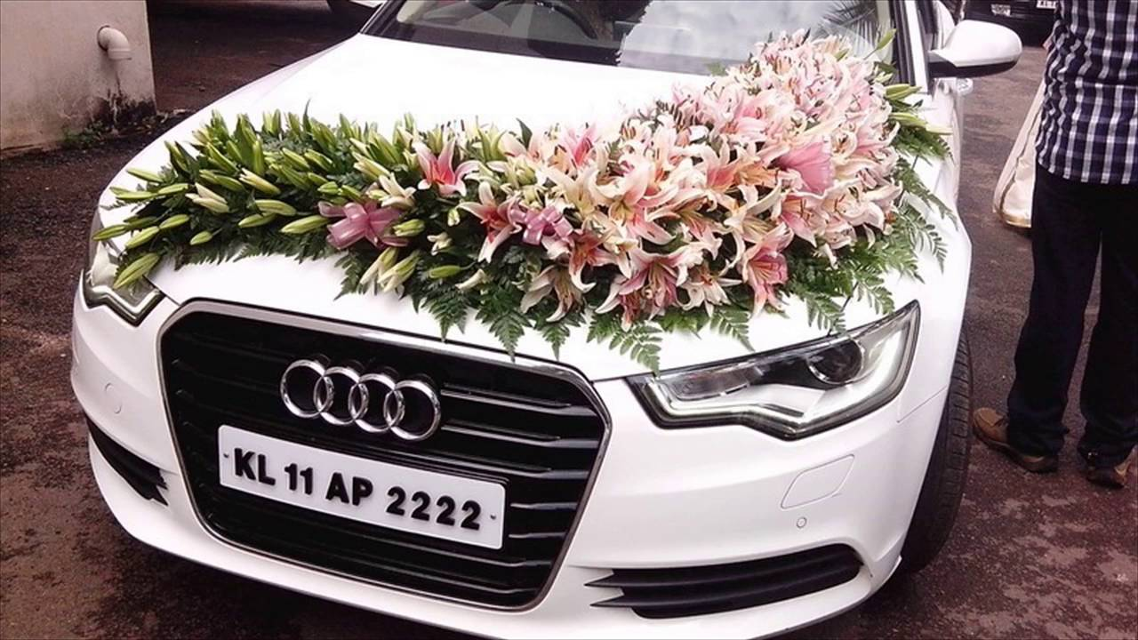 Wedding car decoration with flowers youtube for Automotive decoration