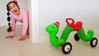 Kids and surprise caterpillar pretend play