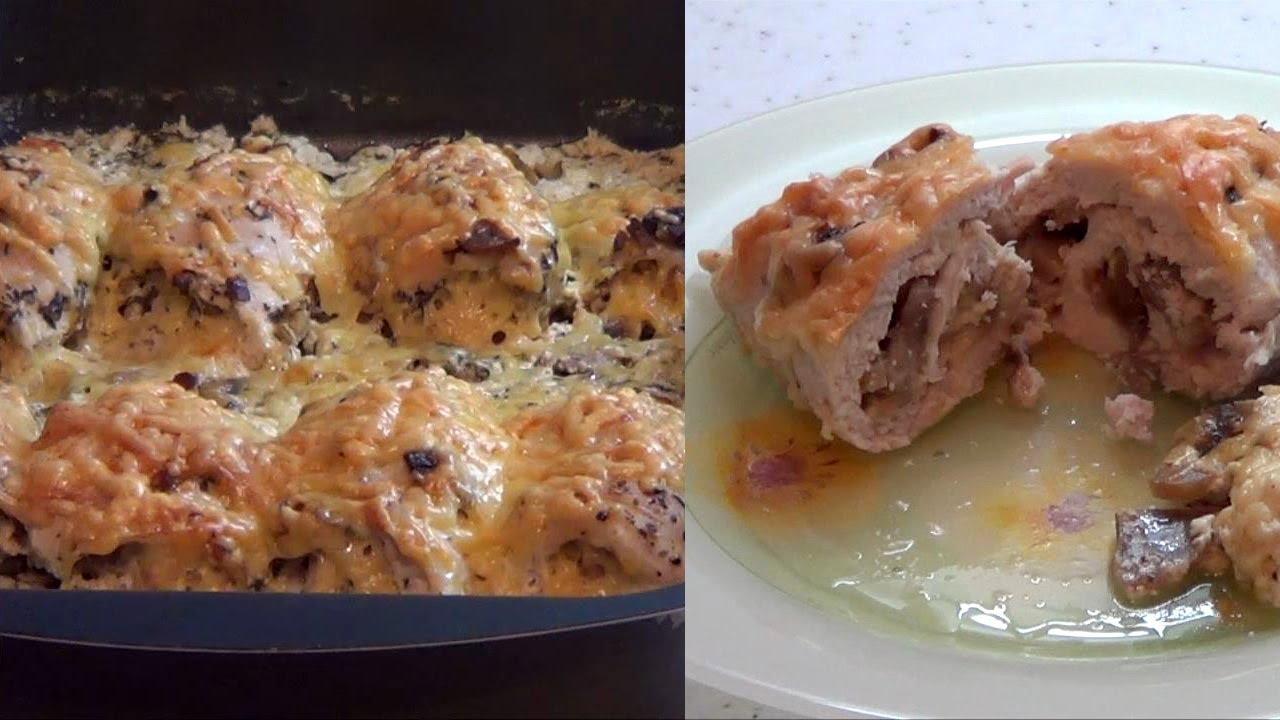 Куриные рулетики в панировке с грибами и сыром