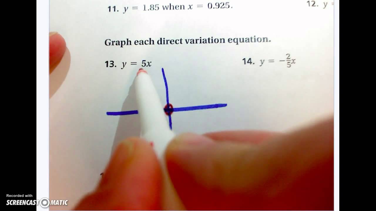5-2 Direct Variation Worksheet - YouTube