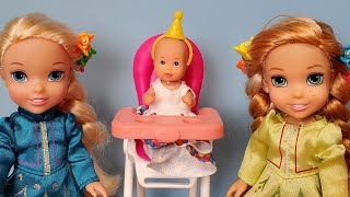 Happy Birthday Snowflake ! Elsa & Anna toddlers - gifts- cake - pinata - Barbie