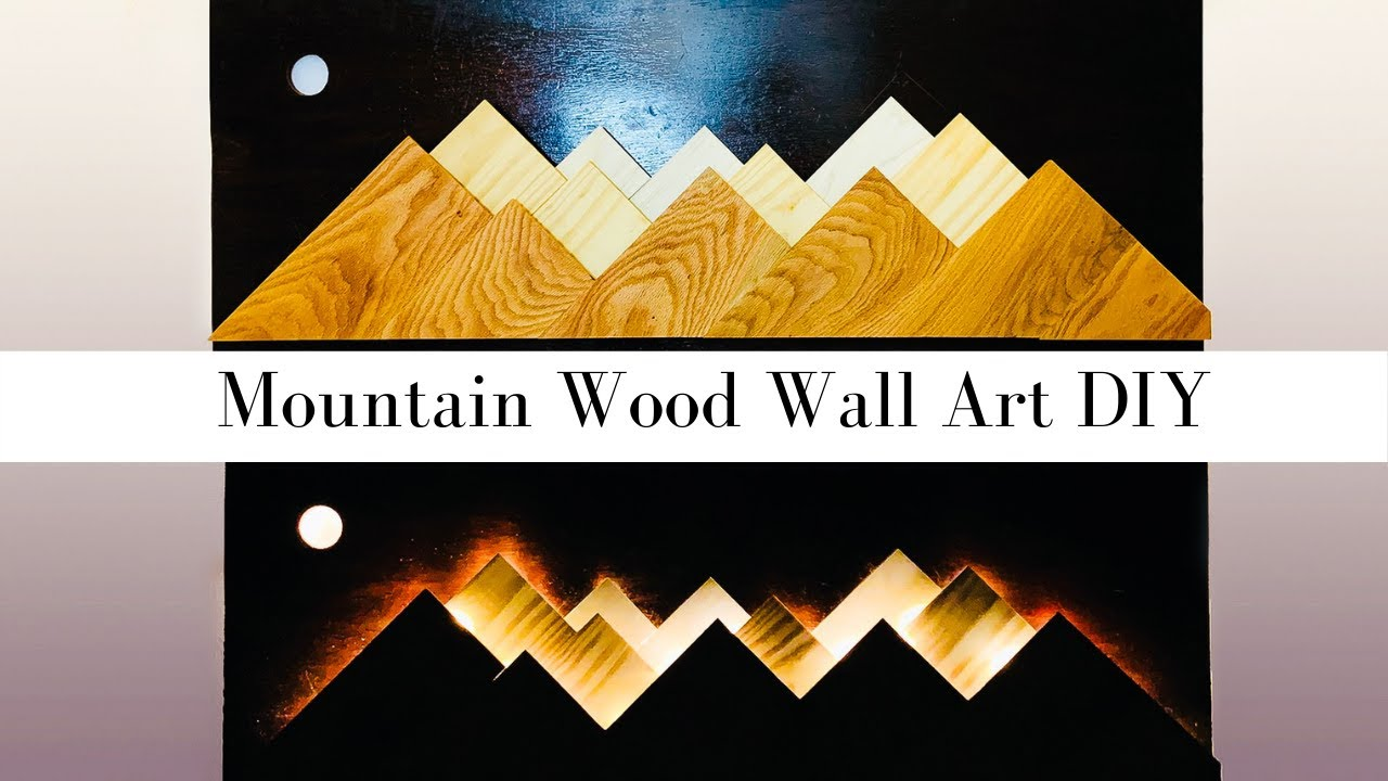 Lighted Mountain Wood Wall Art   LED Lighted Mountain Art   Mountain Wall  Art DIY