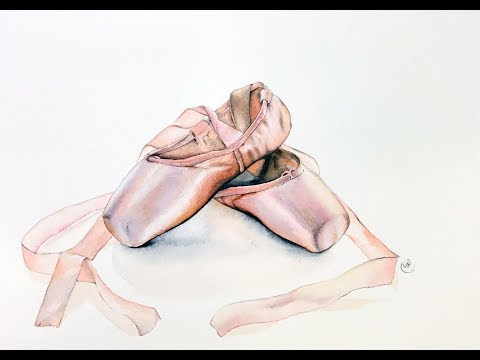 Ballet Slippers in Watercolors Painting Demonstration